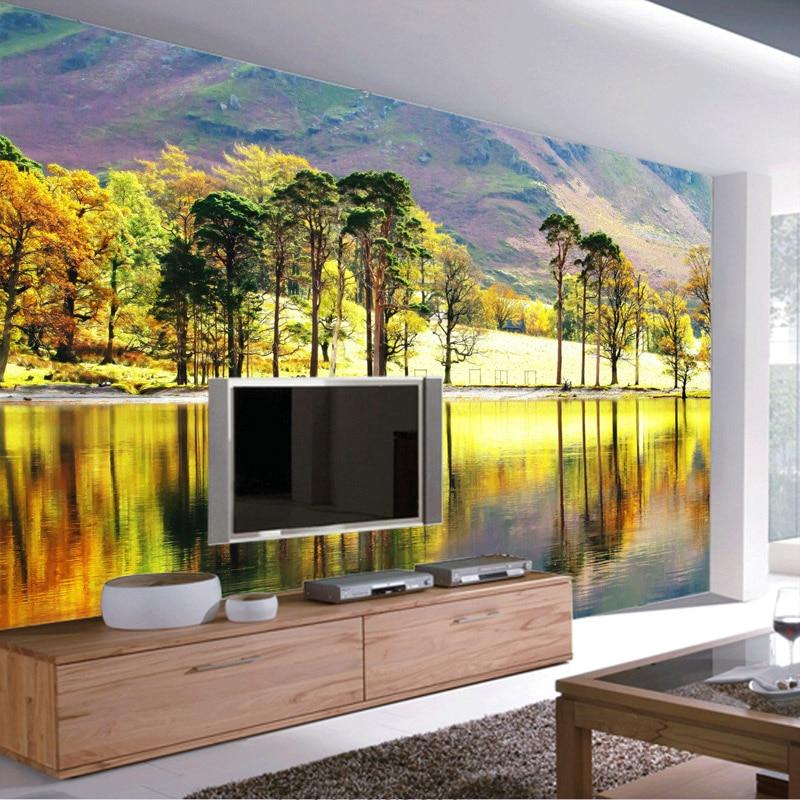 US $17.54 35% OFF|Wald Fluss Fototapete 3D Bäume Tapete Kundenspezifische  Natur Wandbild Schlafzimmer TV Hintergrund tapete Kunst Room Decor wall ...