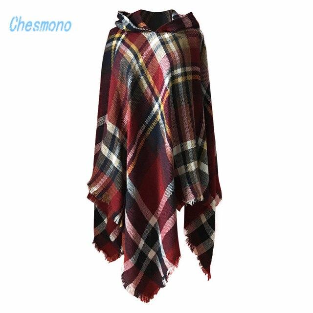 99237d9c7a9c2 High Quality Cashmere Shawl Scarf Fashion Irregular Hooded Plaid Pullover  Shawl Poncho Winter Imitation Pashmina Tassel Shawl