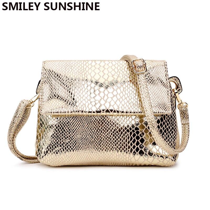 SMILEY SOLEIL épaule sac femelle serpent en cuir impression de petits sacs pour femmes sac de messager enveloppe dames bandoulière sac or
