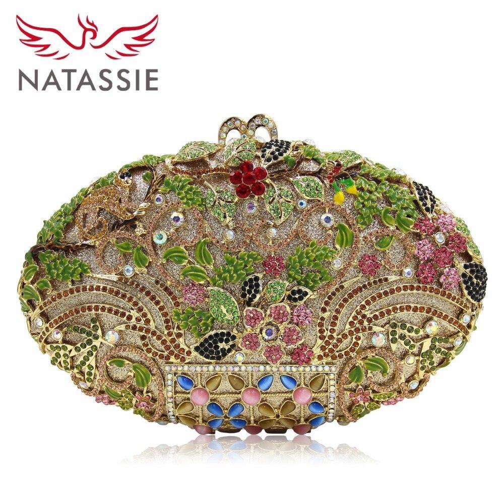 Natassie mujeres vintage floral crystal estuche bolso de noche multicolor verde