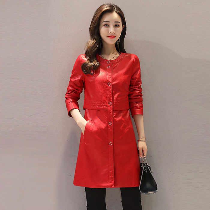 Women's New Large Size XXL2019 Spring Autumn Wild Jacket Fashion Slim Long Leather Casual Windbreaker Coat Thin Female A192