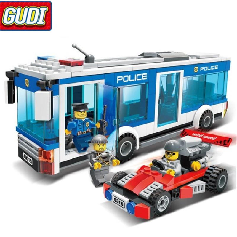 GUDI City Police Station 256pcs Bricks Bus Building Blocks Educational Birthday Gift Toys For Children 6727 city street police station car truck building blocks bricks educational toys for children gift christmas legoings 511pcs