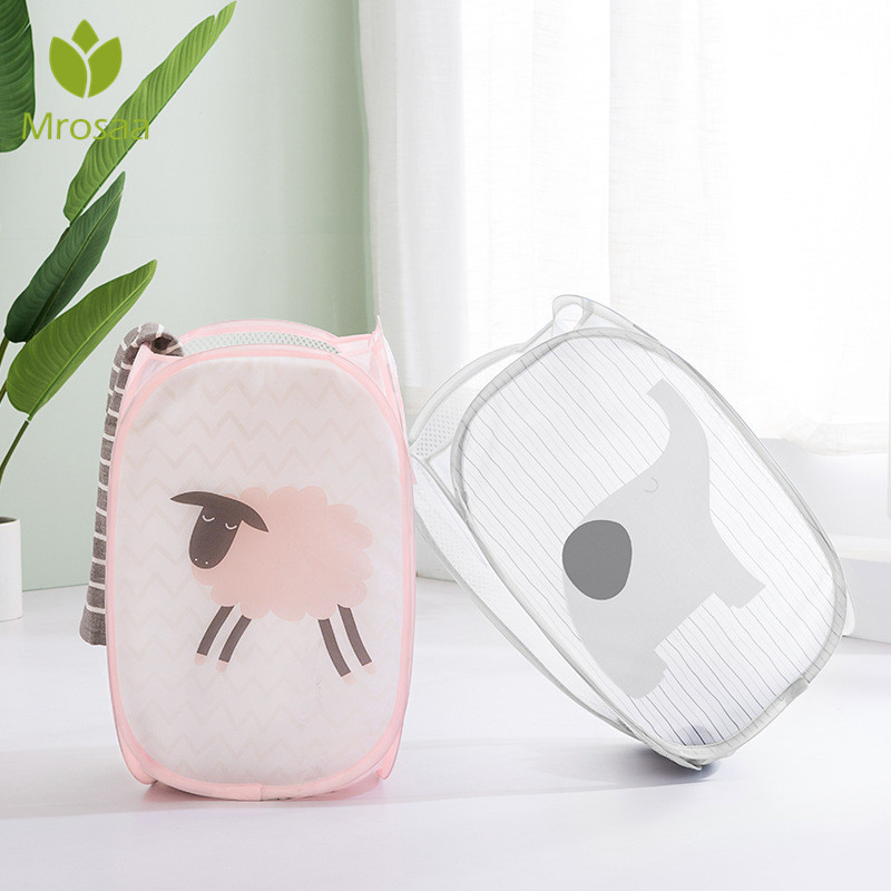 Cartoon Foldable Clothes Storage Baskets Mesh Washing Dirty Clothes Laundry Basket Portable Sundries Organizer Toy Container