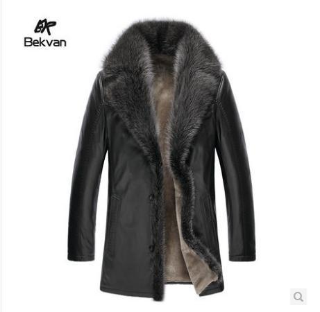Men's fur coat Wolf fur collar Long Sheep Shear Jacket Man's leather jacket