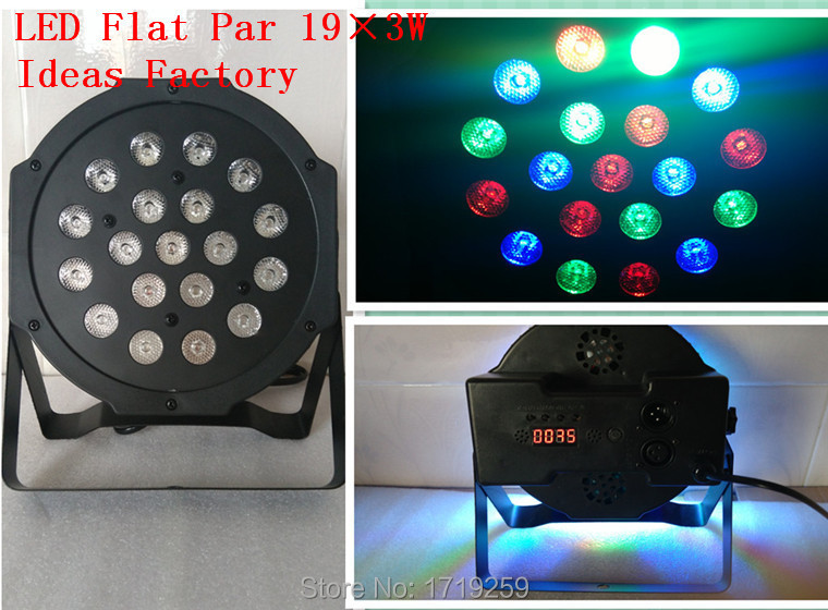 ФОТО Hot Selling New 19x3W RGB LED SlimPar 64 with 3/7Channels DMX, Auto Run, Sound Active, Music Control, Strobe, Mater/Slave