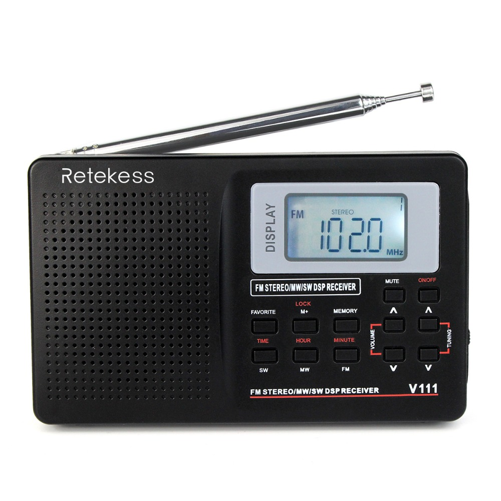 RETEKESS Portable FM Radio DSP FM Stereo/MW /SW /LW Portable Radio Full Band World Receiver Clock&Alarm 9KHZ /10KHZ Radio FM