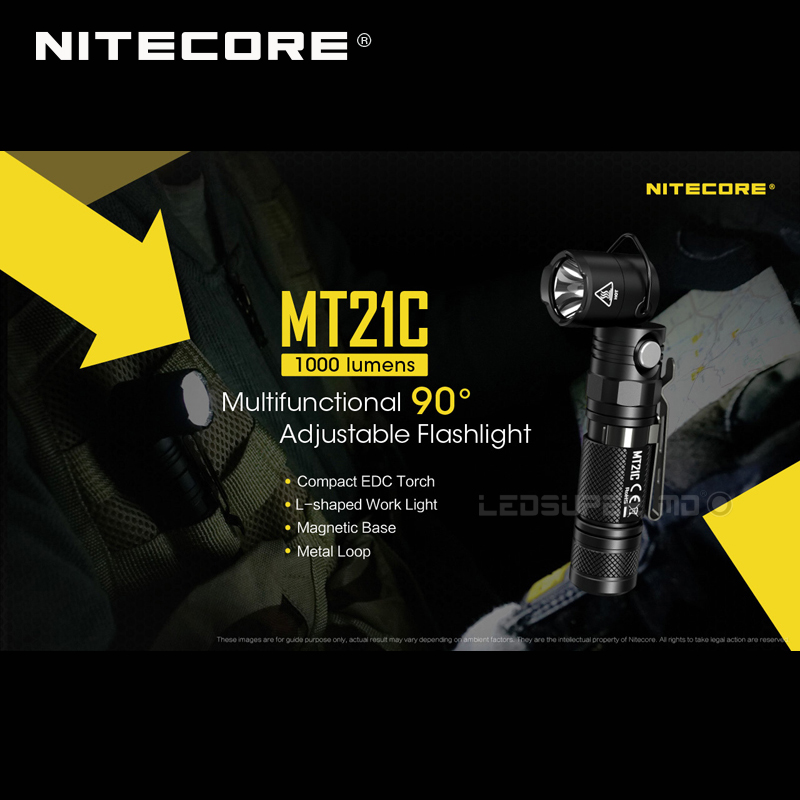 Image 5 - L Shaped Work Light Nitecore MT21C 1000 Lumens Compact EDC Torch 90 Angle Adjustable Flashlight with Magnetic Base-in Flashlights & Torches from Lights & Lighting