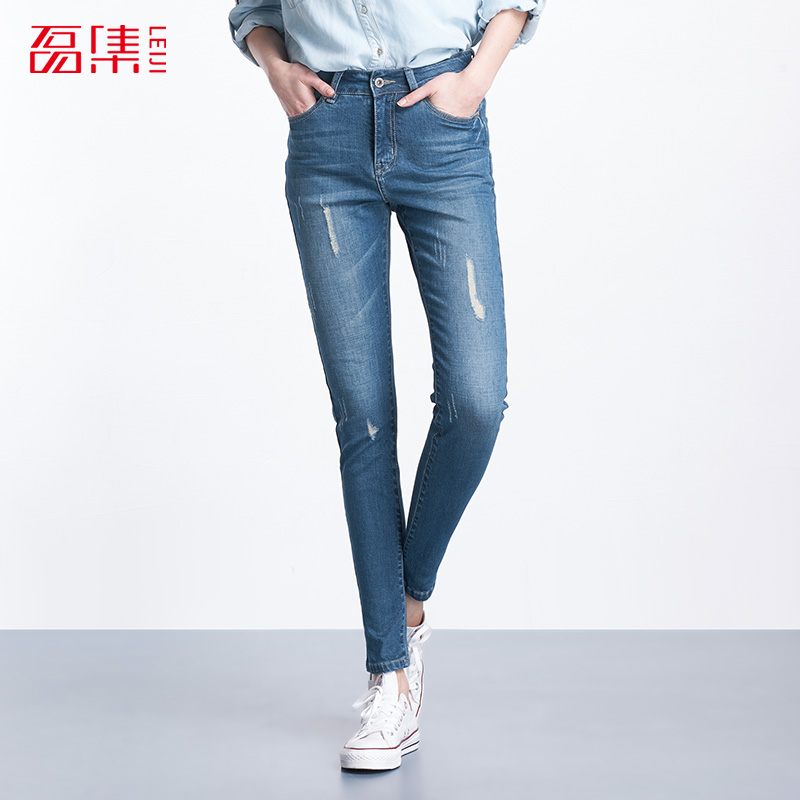Plus Size 2017 Leiji Fashion Women Elastic Ripped Blue Denim Jeans Pencil Casual Skinny Pants Mid Waist Women Trousers plus size women jeans trousers denim pencil pants spring autumn big elastic mid waist empire leggings ladies ripped jeans 988