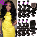 8A Peruvian Body Wave 3Bundles With Closure Human Hair Weave Bundles With Closure Rosa Hair Peruvian Virgin Hair With Closure