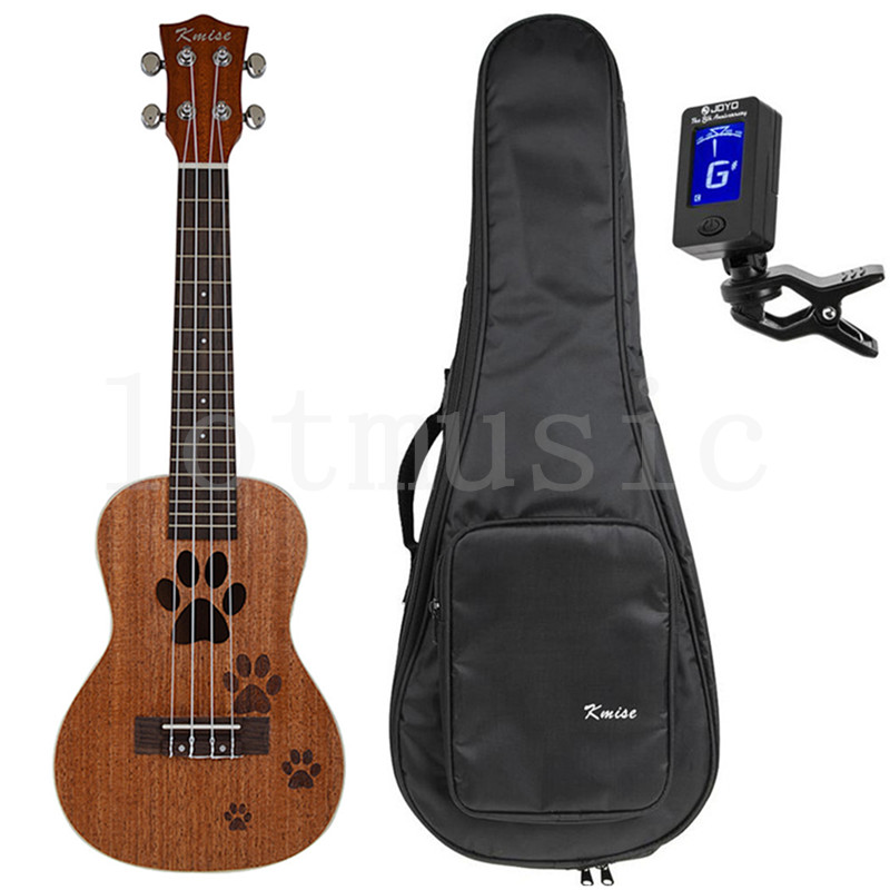 Kmise 23 Inch Concert Ukulele Uke Hawaii Guitar Mahogany 18 Fret Carved Dog's Footprints W/Bag and JOYO Tuner acouway 21 inch soprano 23 inch concert electric ukulele uke 4 string hawaii guitar musical instrument with built in eq pickup