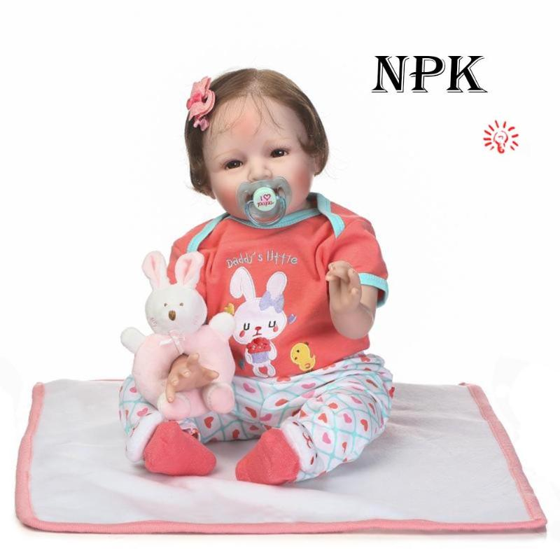 55cm NPK Reborn Baby Dolls Cute Girl Doll Soft Silicone Simulated Toys Baby Photography Prop Birthday Gift Stuffed Toys 2018 New cute soft simulated plush stuffed baby doll babies sleeping dolls children toys birthday gift for baby appease dolls comfort toy
