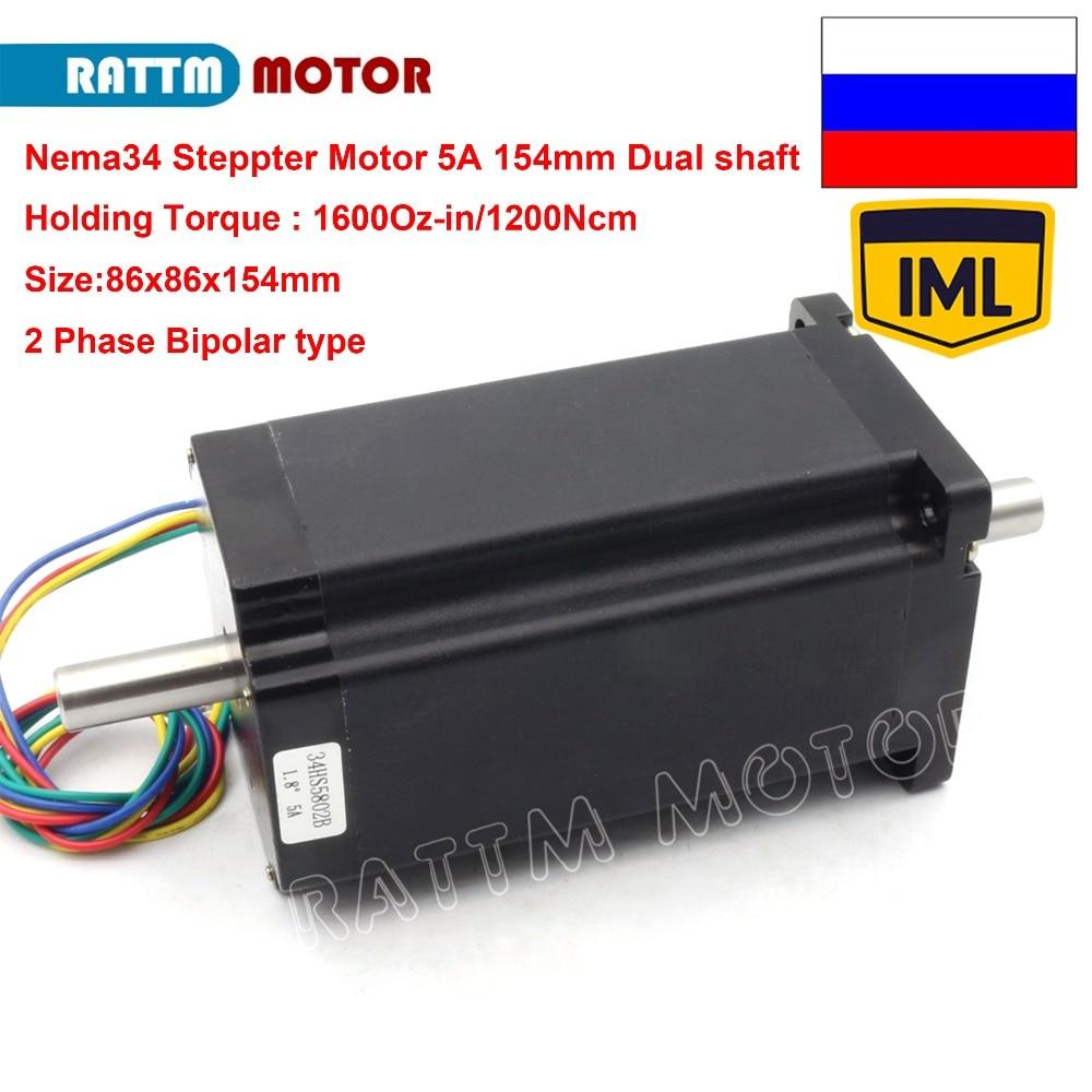 RU Stock & IML deliver & Free VAT!! Dual shaft Bipolar Motor NEMA34 154mm 1600 Oz in 12N.m 5.0A CNC stepper motor for CNC Router