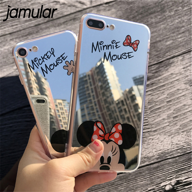 JAMULAR Cartoon Mickey Minnie Mouse Mirror Phone Case For Samsung Galaxy S8 S8 Plus Silicon Soft Back Cover For S8 plus Cases