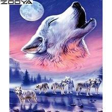 ZOOYA 5D DIY Diamond Painting Full Square Night Moon Embroidery Animal Wolf Kits Mosaic Rhinestones Decor SF609