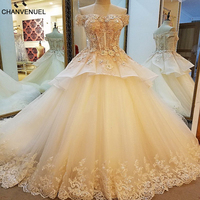 LS89430 Robe De Mariage 2017 Luxe Ball Gown Corset Back Champagne Wedding Gown 2017 With Colorful