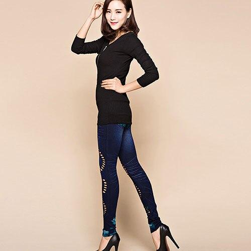 2016 Newest Women's Sexy Hollow Cut Elastic Pants Flower Print Skinny Jeans Denim Leggings