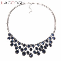 Lacoogh 2017 New Jewelry Blue Crystal Collar Statement Necklace Unique Design Womens Jewellery Necklace Mother S