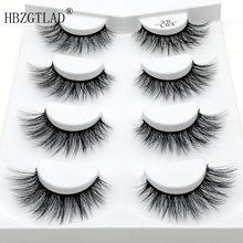 4 pares naturais cílios postiços falsos cílios maquiagem longa 3d vison cílios extensão vison cílios para a beleza