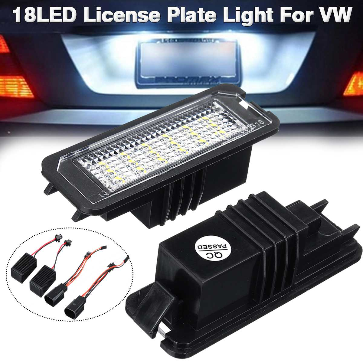 2pcs Universal 12V 18 <font><b>LED</b></font> Car Number License Tail Plate <font><b>Lights</b></font> <font><b>Light</b></font> Bulb For VW <font><b>GOLF</b></font> <font><b>4</b></font> 5 6 7 6R Passat B6 Lupo Scirocco Polo image