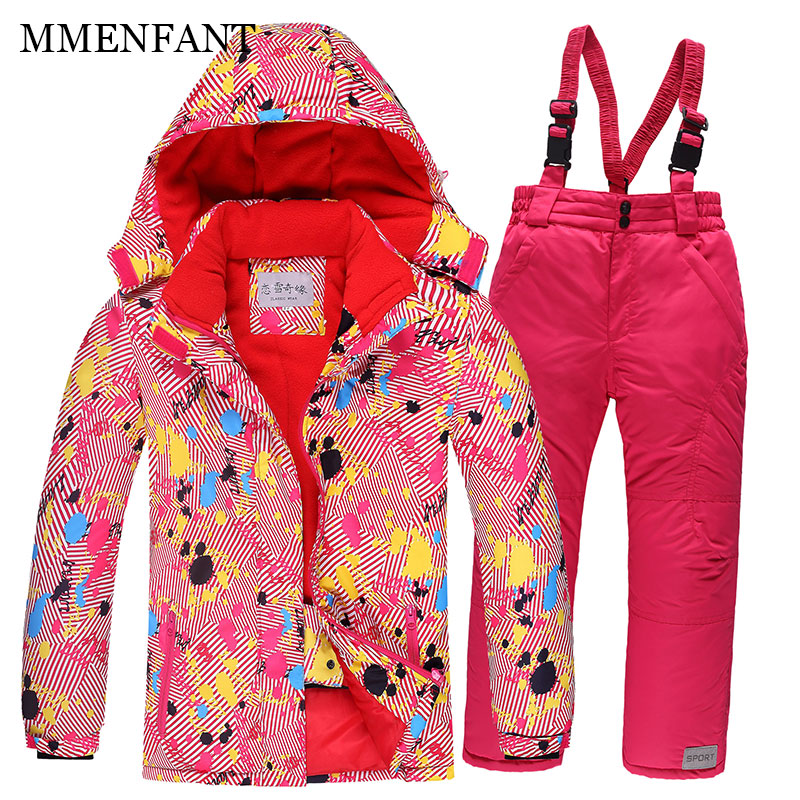 Girls Winter outwear kids boys Ski Suit Super Warm Clothing Skiing Snowboard Jacket+Pants Suit Windproof Waterproof Winter Wear boys girls snow suits kids ski jacket pants windproof waterproof breathable winter warm clothing children suit set for skiing