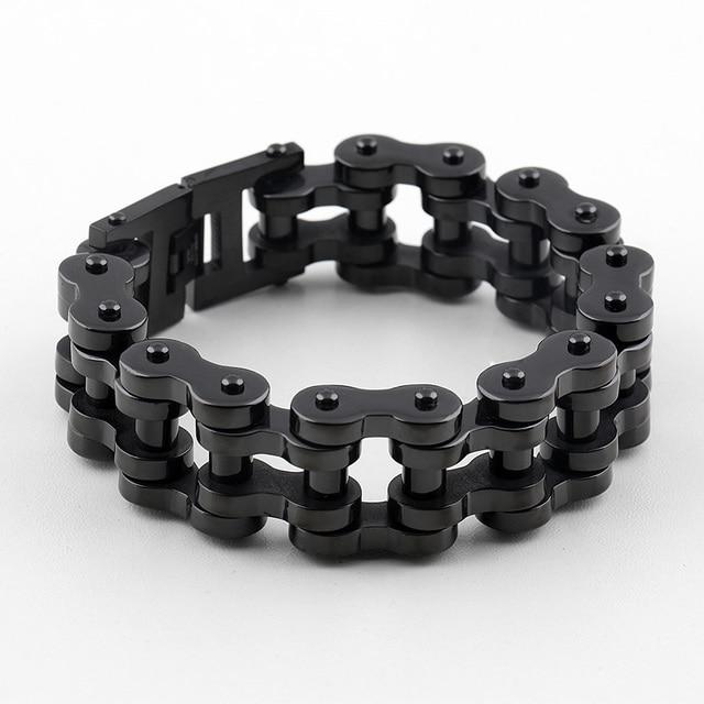 Men Supernova 22mm Width S Cool Black Motorcycle Chain Bracelet Bike Jewelry 316l Stainless Steel