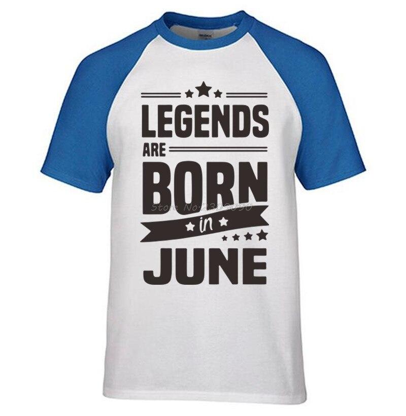 2017 Mens Print Raglanmouwen T-shirt Legends Zijn Geboren In Juni T-shirt Grappige Verjaardagscadeau Papa Zoon Brother Man T-shirt Tops