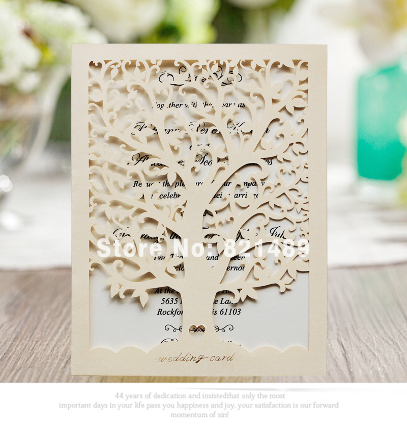 Champagne Vintage Wedding Invitation; Elegant Love Tree Design ...