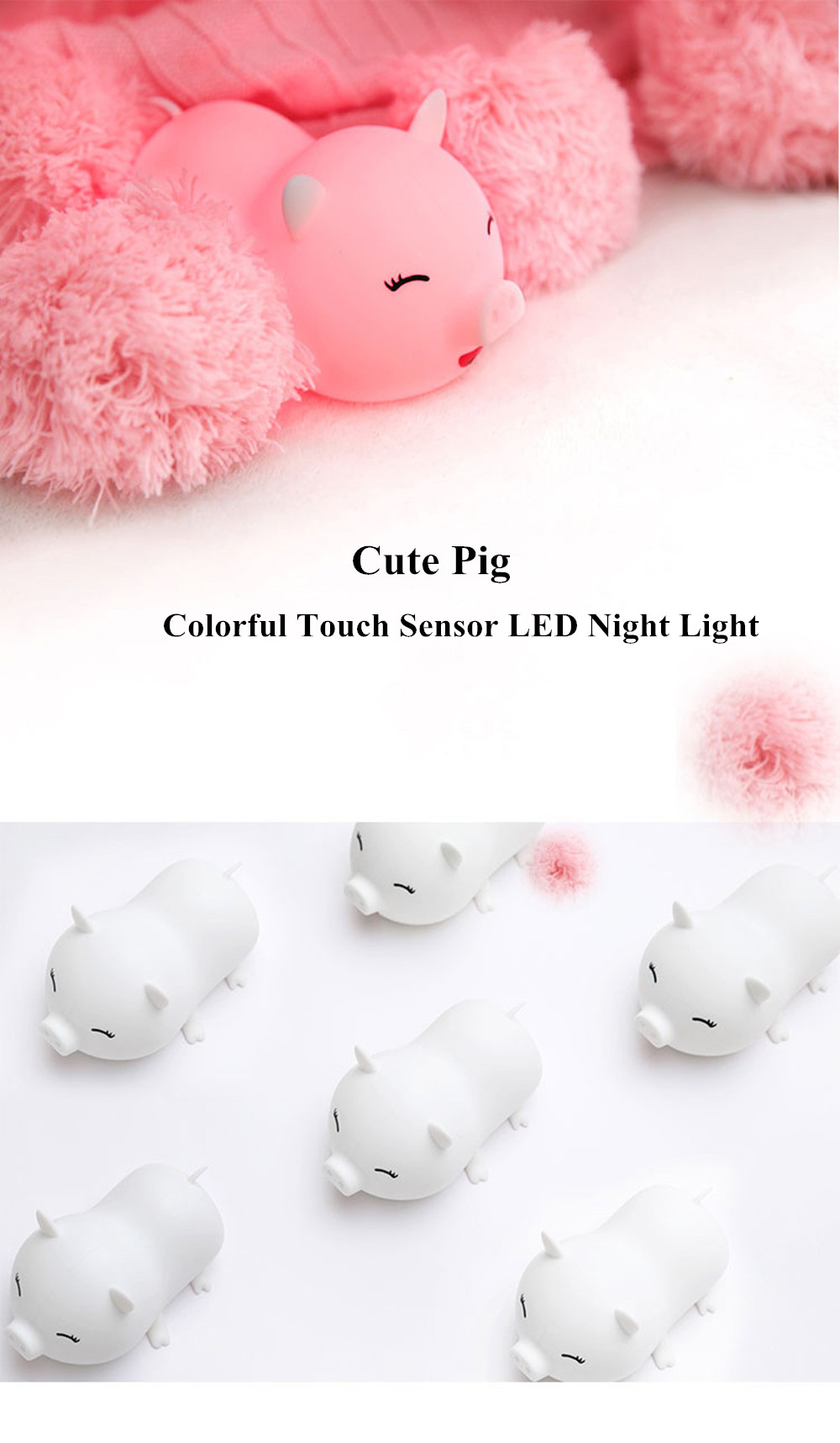 SuperNight Cute Pig LED Night Light Rechargeable Colorful Silicone Animal Touch Sensor Table Lamp Baby Kids Bedroom Bedside Lamp (22)