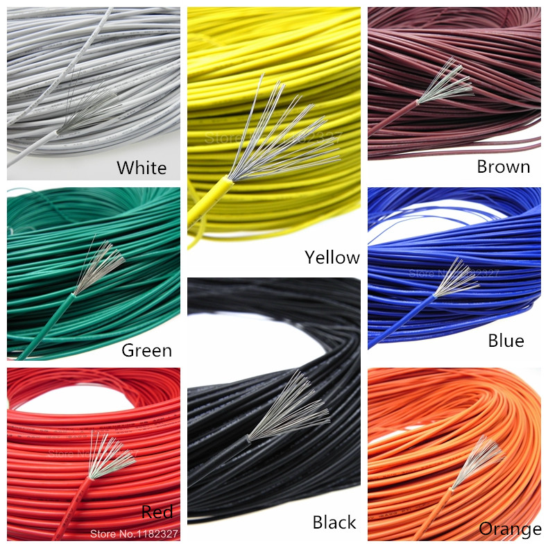 UL1007 18AWG 26*0.25 2.5mm copper cable electrical wires PVC Insulated tinned copper electronic wire 30meters white 28awg ul1007 cable electronic wire to internal wiring electrical wires diy cables 100ft 28 awg