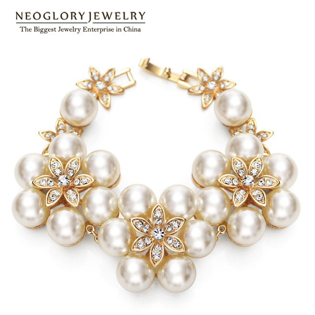 Neoglory Charm Simulated Pearl Bracelets   Bangles Fashion Light Yellow  Gold Color JewelryFor Women Wedding Jewellery 1352e20473bb