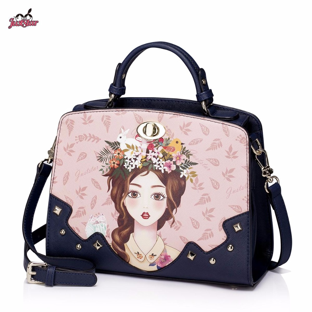 Just Star Brand Design Fashion Flower Fairy Printing Rivets PU Women Leather Girls Ladies Handbag Shoulder Crossbody Bag just star brand new design fashion flowers pu leather women s handbag ladies girls shoulder cross body drawstring bucket bag