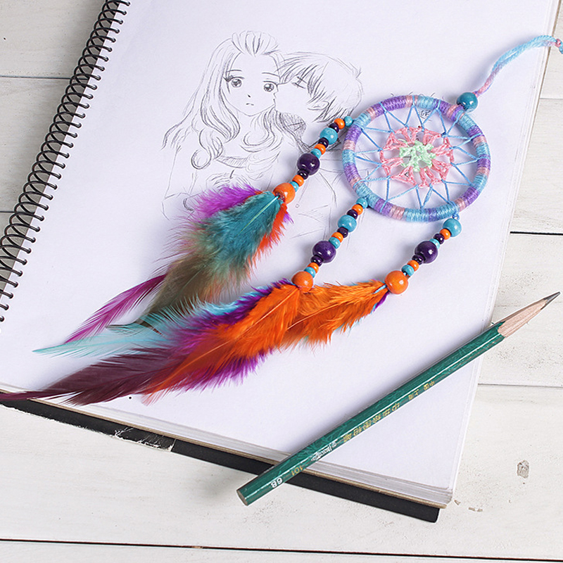 Image 2 - Car Handmade Dream Catcher Colorful Feather Hanging Pendant Home Hanging Decor Dream Catcher Ornament craft gift-in Ornaments from Automobiles & Motorcycles