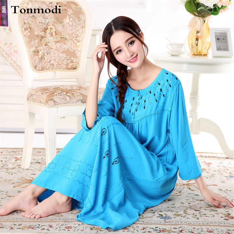 2017 New Long   Nightgown   Summer 100% Cotton Long Nightdress Stitch Noble Loose Women lounge Classical Elegant   Sleepshirts