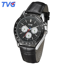 2016 Mens Quartz watches TVG Brand Latest Fashion Men Stainless Steel Leather Strap Casual Male Analog Wrist watch EL Backlight