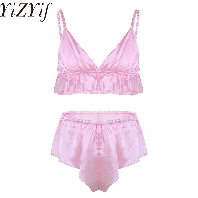 Men's Exotic Apparel Iefiel Fashion 2pcs Mens Sissy Lingerie Set Soft Silky Short Sleeves Crop Top With Bloomers Boxer Underwear Set Sexy Panties Boxers