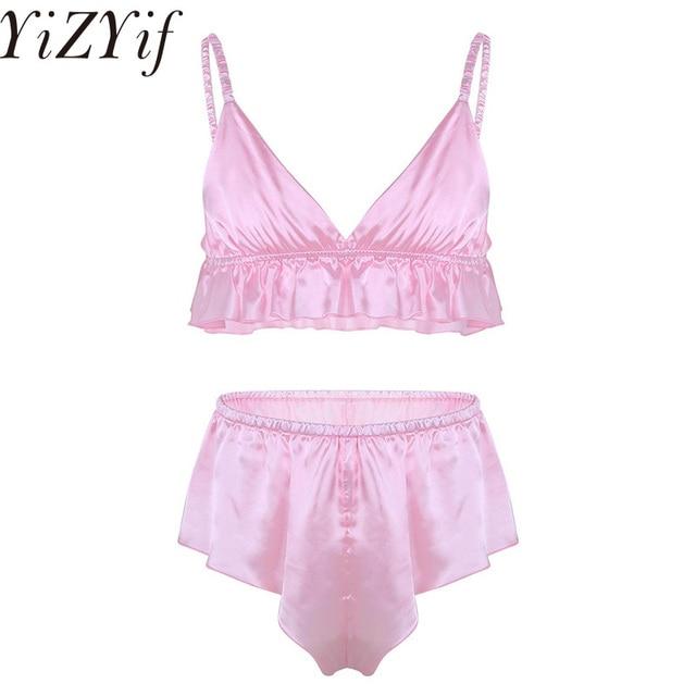b4843ec093ca YiZYiF Sexy Men Sissy brief Bra Lingerie Gay Soft Satin panties Silky French  Knickers Top Brief Underwear Underpants Sleepwear