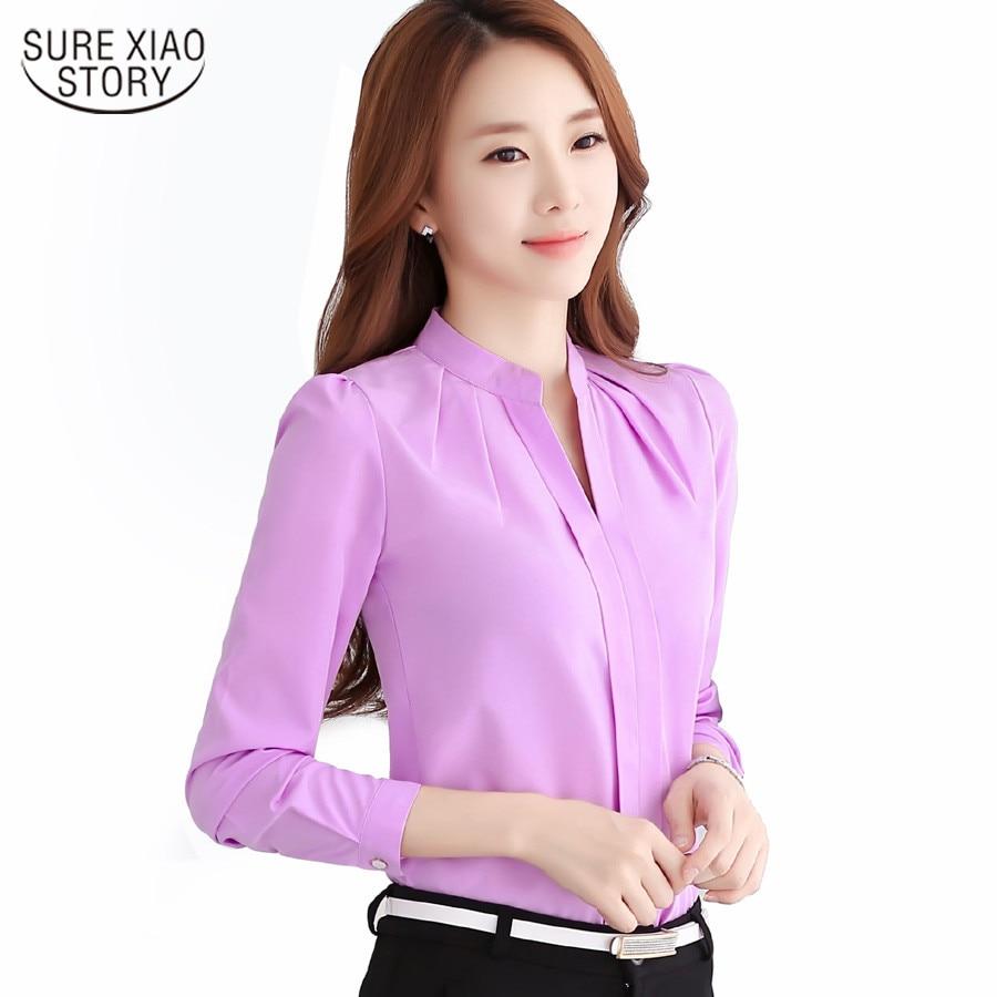 Шифон блузи 2019 Нова Дамска риза Мода Ежедневно Шиеновата риза с дълги ръкави Елегантна Тънък плътен цвят плюс размер блус 861B 25