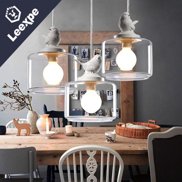 Vintage Loft LED Hanglamp Vogel Designer Glas Lampenkap Opknoping ...