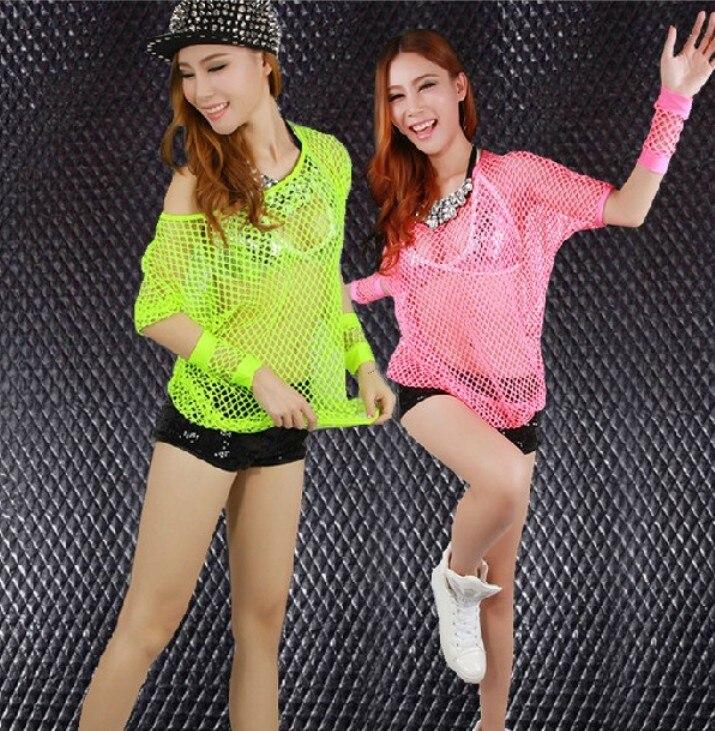 86d89e079 ④Malha oco Jazz dança fluorescente tops camisa