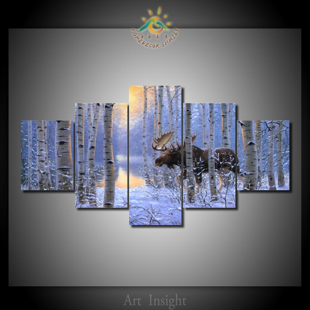 Moose in the forest 5 pieces set wall art paintings picture print on canvas for homegw3000quality2880 moose in the forest 5 piecesset wall art paintings picture print on canvas for home decoration wall art picture for living room solutioingenieria Gallery