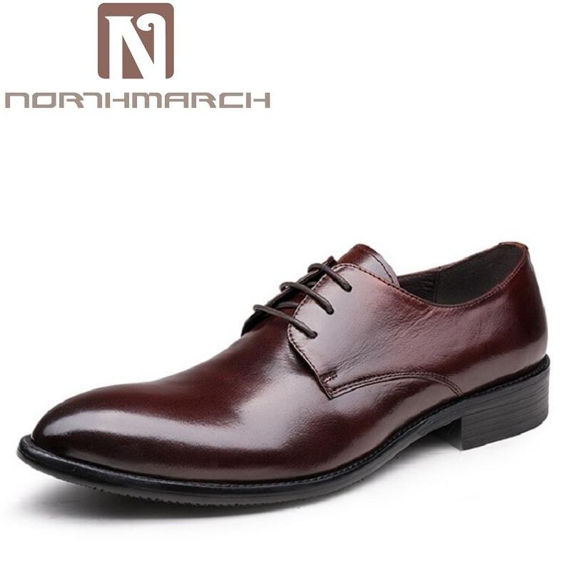 купить NORTHMARCH Classic Designer Men Dress Shoes Genuine Leather Black Brown Italian Formal Oxfords Wedding Man Flat Erkek Ayakkabi недорого