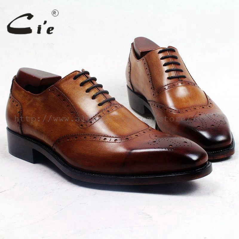 cie square toe medallion lace up oxford patina brown 100%genuine calf leather men shoe goodyear welted bespoke handmade ox506