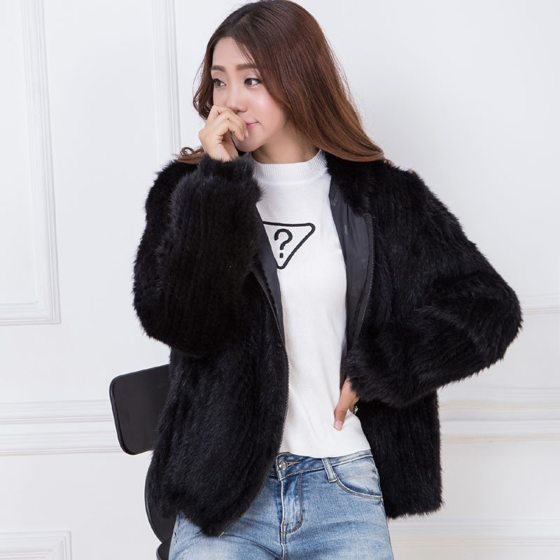 knit mink fur coat black 4