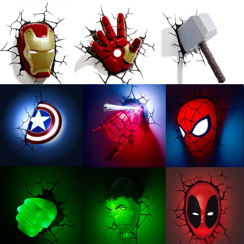 Avengers Series 3D Marvel LED Wall Lamp Living Room Creative Night Light Ironman Hulk Hammer Captain American as Boy's Gift