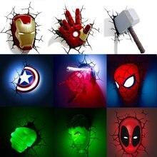 Série vingadores 3d marvel led lâmpada de parede sala estar criativo noite luz ironman hulk martelo capitão americano como presente do menino