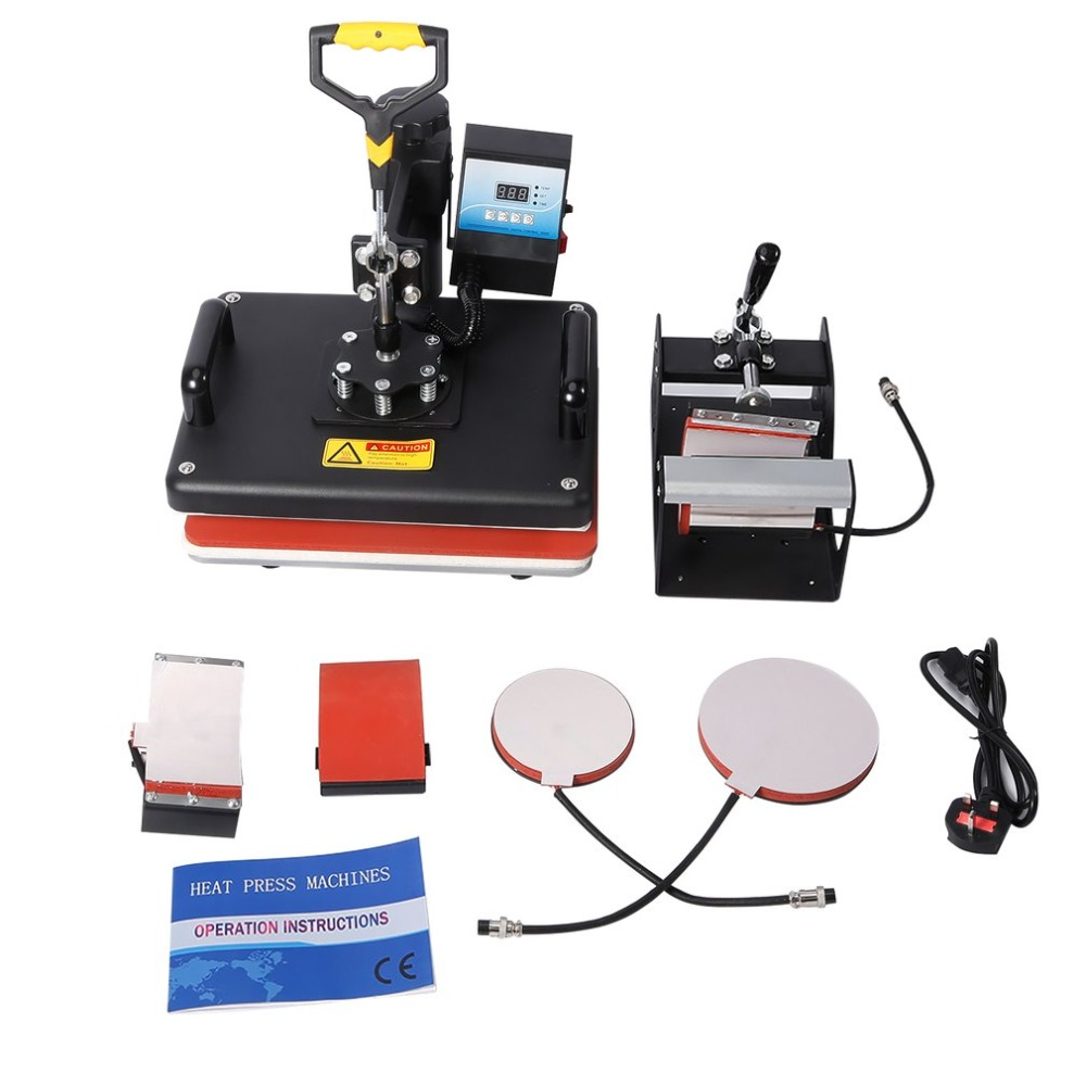 5 In 1 Digital Heat Press Machine Printer Multifunctional Transfer Sublimation For T-Shirt Mug Cup Cap Plate Hat Heat Platen hot