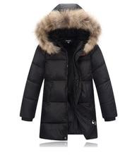 Four-12Y Long Style Kids Snow Wear Boys Parka Winter Coat Hooded Fur Collar Children Snowsuit Boys Warm Downs KW-1674