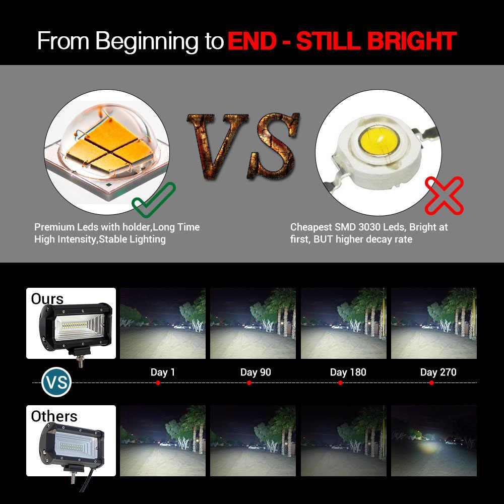 CO ضوء LED ضوء العمل 72 واط 5 بوصة 8000LM كشاف ليد بار ل الطرق الوعرة سيارة بيك اب لادا 4x4 Uaz ATV السيارات القيادة ضوء 12 فولت 24 فولت