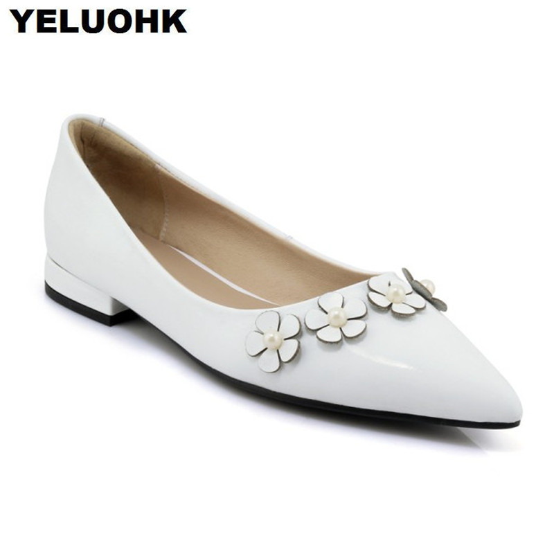 2018 New Flower Women Flat Shoes Fashion Pointed Toe Leather Shoes Women Slip On Ladies Shoes Spring beyarne hot sale new fashion spring women flats shoes ladies bow pointed toe slip on flat women s shoes free shipping size34 40