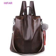 HIFAR Backpack Women Shoulder School Bags for Teenage Girls Vintage Leather Anti Theft Mochila Mujer Back Pack Lady
